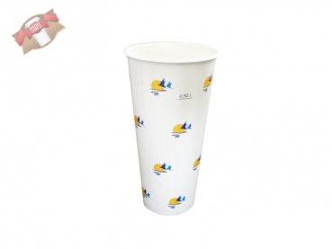 50 Stk. Trinkbecher Pappbecher 500 ml  Ø 90 x H 165 Sunset