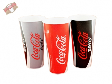 50 Stk. Pappbecher Trinkbecher 500 ml Coca Cola light zero