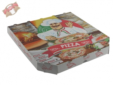 100 Stk. Pizzakarton Pizza Karton Pizzabox to go 30x30x3 cm Pizzakarton Motivdruck
