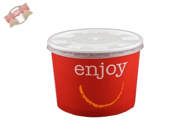 50 Stk. Foodcontainer Papiercontainer mit Deckel 300 ml rot