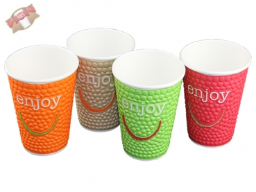 40 Stk. Coffee-Cup Motiv Enjoy 12 oz ca. 300 ml
