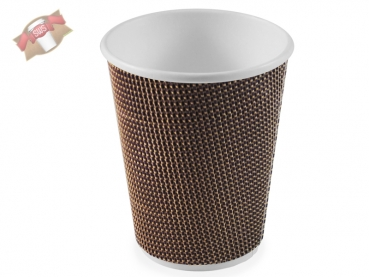 50 Stk. Coffee to go Kaffeebecher Ripple Cup 300 ml braun lila