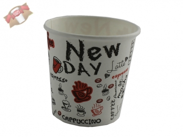 "50 Stk. Kaffeebecher Coffee to go 100 ml 4 oz bedruckt mit ""New Day"""